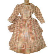 14 Inch 19th Century Brown Check Homespun Doll Dress Chicken Scratch Embroidery Sash Fanny Bow
