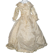 15 Inch 19th Century Cream Silk Fashion Gown Attached Petticoat