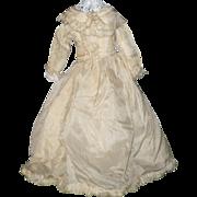 15 Inch 19th Century Cream Silk Fashion Gown Attached Petticoat