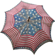 Old Patriotic Red White Blue Stripes Stars Parade Parasol