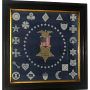 Grand Army of the Union 1861-1865 Veteran Printed Linen Bandana in Original 25 Inch Walnut Frame