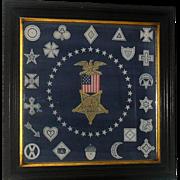 Grand Army of the Union 1861-1865 Veteran Printed Linen Bandana in Original 25 Inch Walnut Frame