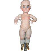 9 Inch Goebel All Bisque Swivel Neck Glass SE Pegged Joints Yellow Boots Great Body Nude No Wig Hairline