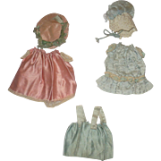 5 Antique Pieces Aqua and Pink Silk Doll Clothing for All Bisque Doll