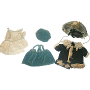 5Piece Doll Clothing for German All Bisque Doll Velvet Coat and Bonnet Ivory Silk Dress Green Velveteen Jumper and Hat