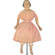 25 Inch 1850's Papier-mache Wear Original Body and Clothes
