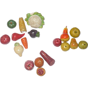 18 Old Molded and Painted Plaster Veggies Fruits Breads for Doll House Kitchen or Room Box