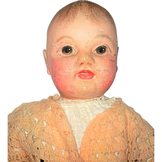 Fine 21 inch Oil Painted Cloth Philadelphia Baby or Sheppard Baby Original Costume and No Repaint