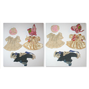 2 Beautiful Little Hand Stitched Dresses and Bonnets for 5-7 Inch German All Bisque Doll + Jacket with Scarf