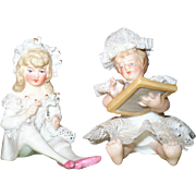 2 Miniature Victorian Dresden Lace Figures Bare Foot Baby with Slate  and Girl in Pink Shoes