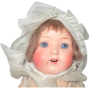 14 inch Armand Marseilles Painted Bisque 985 Baby Original Factory Tinsel Trimmed Costume  and Wig