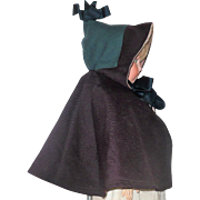 Old Lined Wool Doll Cloak with Peaked Hood