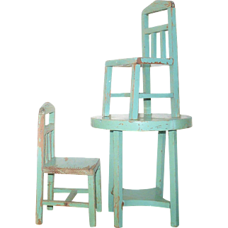 1930's Art Deco Style Turquoise Painted Wood Doll Table and 2 Chairs All Stamped Stamped Marilu