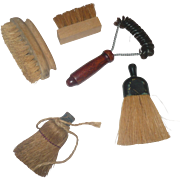 5 Old Wood Toy or Saleman Sample Scrub Brushes and Brooms