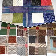 12 Hand Pieced 19th Century  NJ Quilt Blocks Madder Brown Jersey Green Indigo
