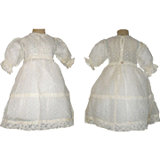 Old Hand Stitched 15 Inch White Dotted Lawn Dress with Lace Bodice Waist Hem