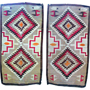 Old 56 Inch by 30 Inch Hand Woven Navajo Rug Serrated Diamond Feather Motifs with Lazy Lines