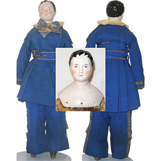 16 Inch 1840's Pink Tint Kinderkopf Boy Brush Strokes Brown Eyes Linen Body Blue Boots Leather Arms Union Civil War Uniform
