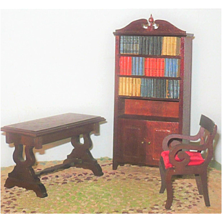 Fine Vintage Federal Doll House Library Furniture Book Case with Drawer and Books + Lyre End Table and Arm Chair