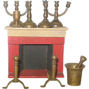 Painted Red Wood Doll House Fire Place Brass Andirons Candlesticks Candlelabra Mortar Pestle Chalice
