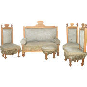 Antique Blond German Doll House Sofa 3 Chairs Stool Original Pale Blue Damask Upholstery and Fringe