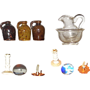 Doll House Miniatures 3 Stoneware Jugs Blown Glass Pitcher with Bowl Frit Glass Paper Weight Tynie Toy Candle Stick