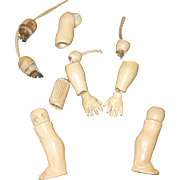 Composition and Wood 1 Inch Hands + Lower Arms + Lower Legs + Misc Parts for Small German Bisque Head Doll