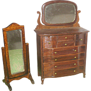 Vintage Doll House Late Victorian Style 6 Drawer High Chest with Mirror and Cheval Tilt Mirror on Feet
