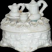 19th Centtury German China Fairing Trinket Boxwith Tea Set on Lid