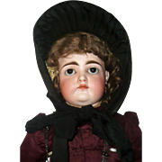 19th Century Woven Black Straw Bonnet Grosgrain Trims Black Ribbon Ties for Larger Doll.