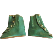 Old 2 and 5/8 Inch Size 5 Turquoise Oil Cloth Flat Sole Side Button Boots
