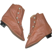 Old 4 Inch Size 12 Salmon  Oil Cloth Side Button Boots with Heels