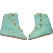2.8 Inch Size 6 Turquoise Oil Cloth Flat Sole Boots