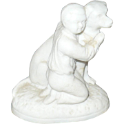 2 Inch Doll Size 19th Century Parian Figure Boy and Dog