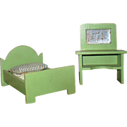 Stamped Germany Apple Green Painted Wood Single Bed and Wash Stand with Mirror