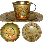 19th Century German  Made Patriotic Lithographed Tin 3 Piece Child's Dish Set with Eagles US Flags  Statue of Liberty Ocean Liners