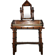 15 Inch 19th Century French Fashion Size Faux Bamboo Vanity with Mirror and Marble Top