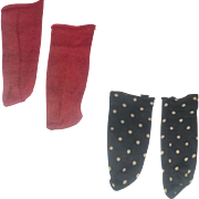 Old 5 Inch Red Cotton and 4.5 Inch Black with White Dots Cotton Stockings for Kid Body Doll