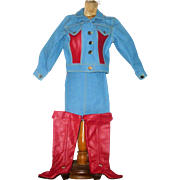 Artist Made Patriotic Denim and Red Leather Jacket Skirt and Cow Girl Boots with USA Button and Star Studs for 18 Inch Doll