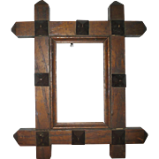 Folky Small Oak Picture Frame with Raised Pyramid Ornaments