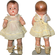 8.5 Inch Molded Hair Comp Toddler Brown Side Glancing Eyes Tagged MA Quint Dress