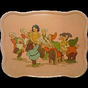 10 Inch 1937 Ohio Art Walt Disney Enterprises Snow White and Seven Dwarfs Lithographed Tin Tray