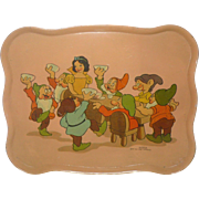 10 Inch 1937 Ohio Art Walt Disney Enterprises Snow White and Seven Dwarfs Lithographed Tin Tray