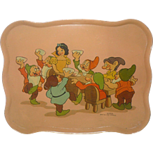 10 Inch 1937 Ohio Art Walt Disney Enterprises Snow White and Seven Dwarfs Lithographed Tin Tray - Red Tag Sale Item