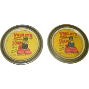 "2 Wrigley's 3.5"" Lithographed Round Trays with Wrigleys Black Cat Mascot"