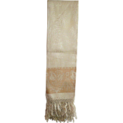 "Never Used 48 Inch Long Victorian Damask Towel Pomegranate Floral Pattern Towel Knotted 6 Inch Fringed Ends and 5"" Gold Bands"