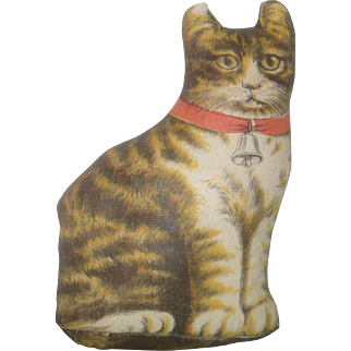 Hand Stitched 7.5 Inch Oil Painted Linen Flat Cotton Stuffed Tabby Cat with Pink Neck Bow Ear Tip Loss