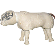 6.5 Inch White Schoenhut Bull Dog with 2 Piece Head Glass Eyes Black Spots Wear
