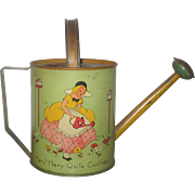 6.5 Inch 1930's Ohio Art Lithographed Tin Mary Mary Quite Contrary Green and Yellow Watering Can