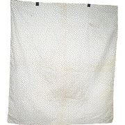 19th Century 28 Inch x25.5 Inch Tiny Black Leaf Roller Printed Ivory Home Spun Linen Bag or Pillow Case